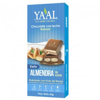 CHOCOLATE C/LECHE Y ALMENDRAS 65 G YAAL