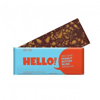CHOCOLATE CON LECHE Y CARAMELO DE MANÍ 100 G HELLOCHOC